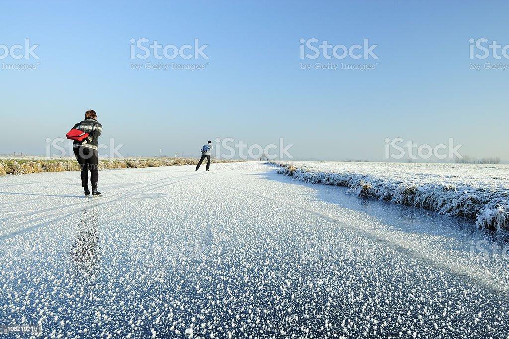 Ice-skating in the Netherlands royalty-free stock photo