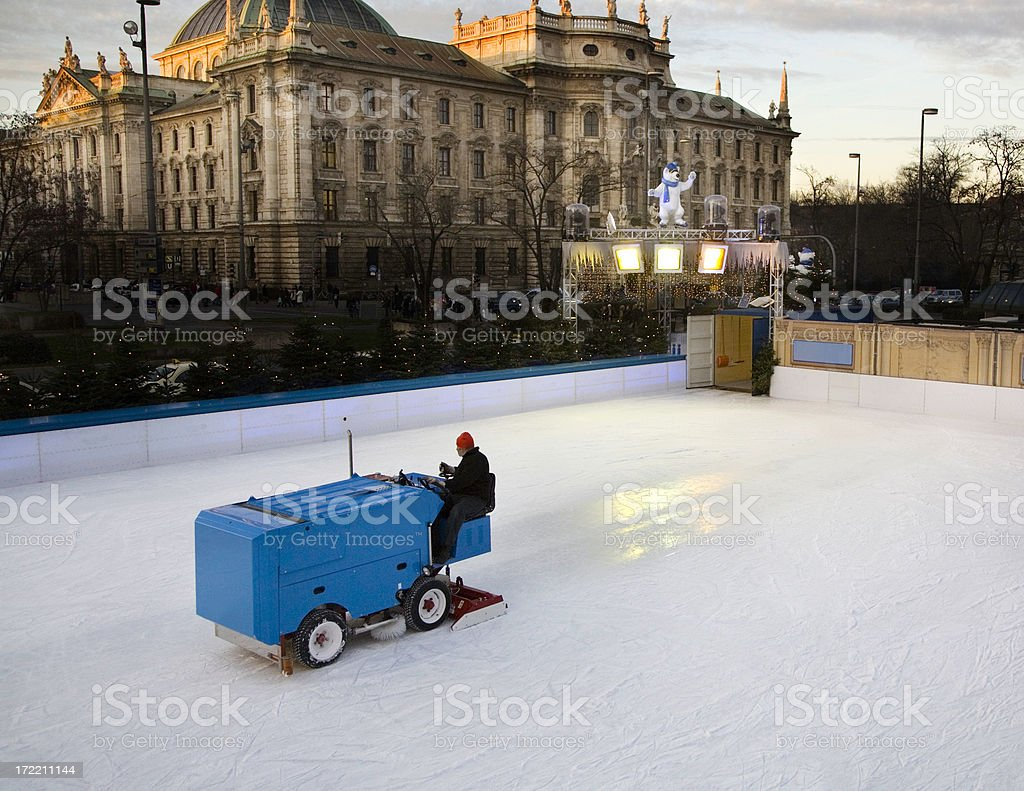 Ice-skating ring in Munich downtown stock photo