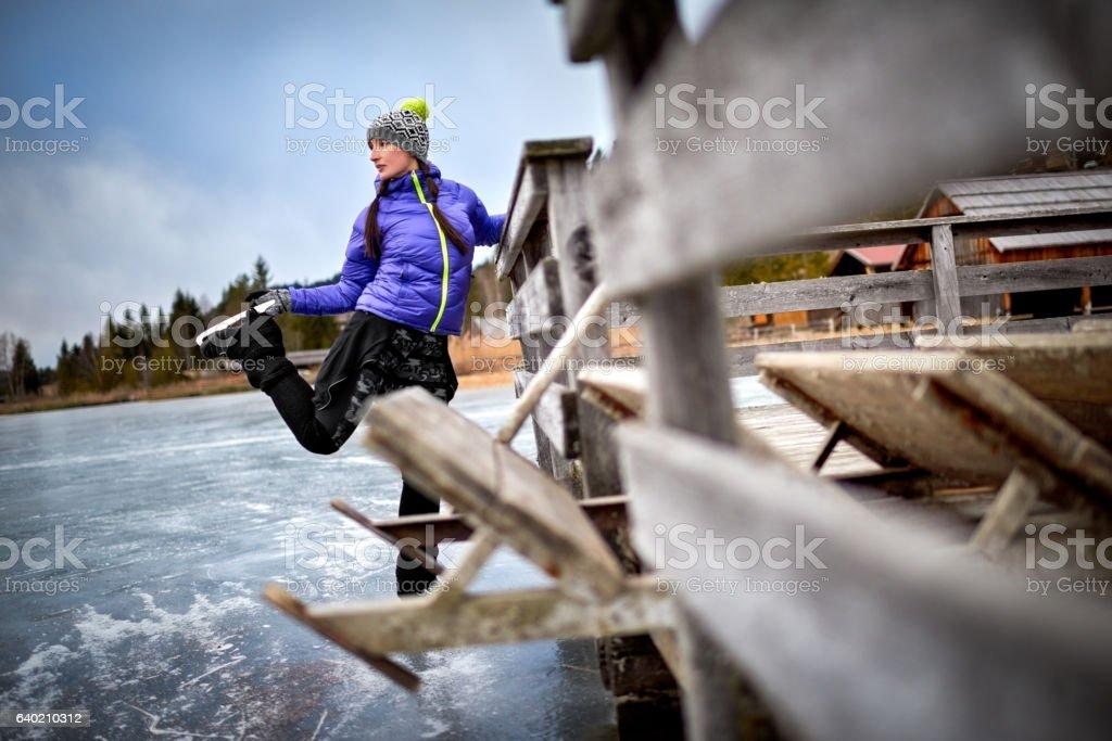 Ice-skating warm up stock photo