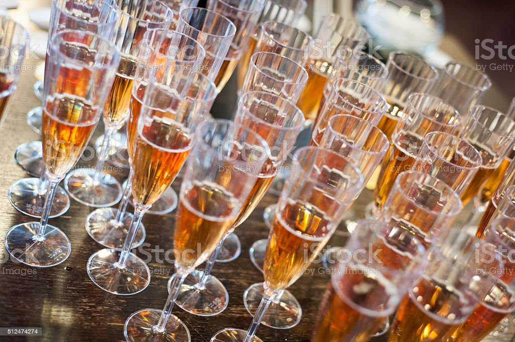 Icewine in glass flutes stock photo
