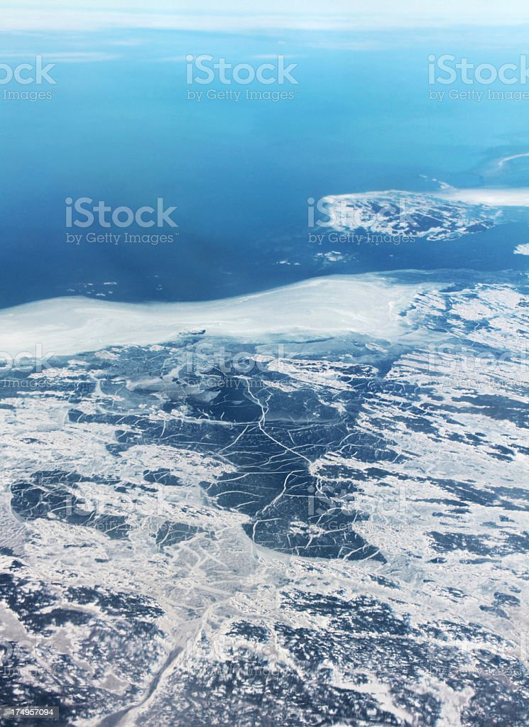 Icey Coastline from the air royalty-free stock photo