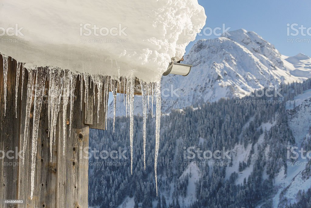 Icicle at a roof stock photo