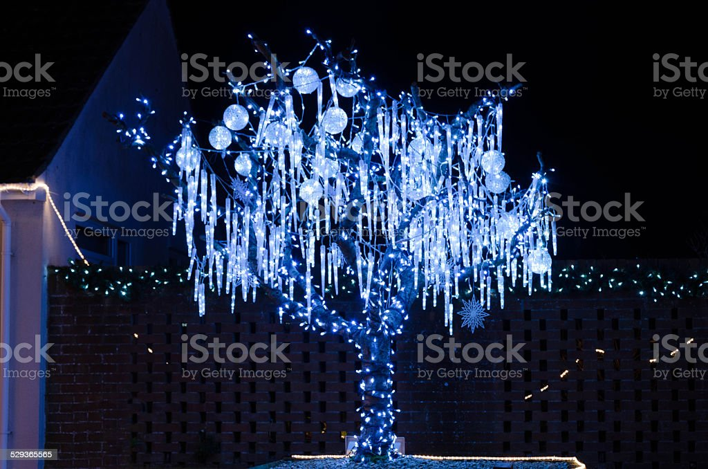icicle christmas lights stock photo