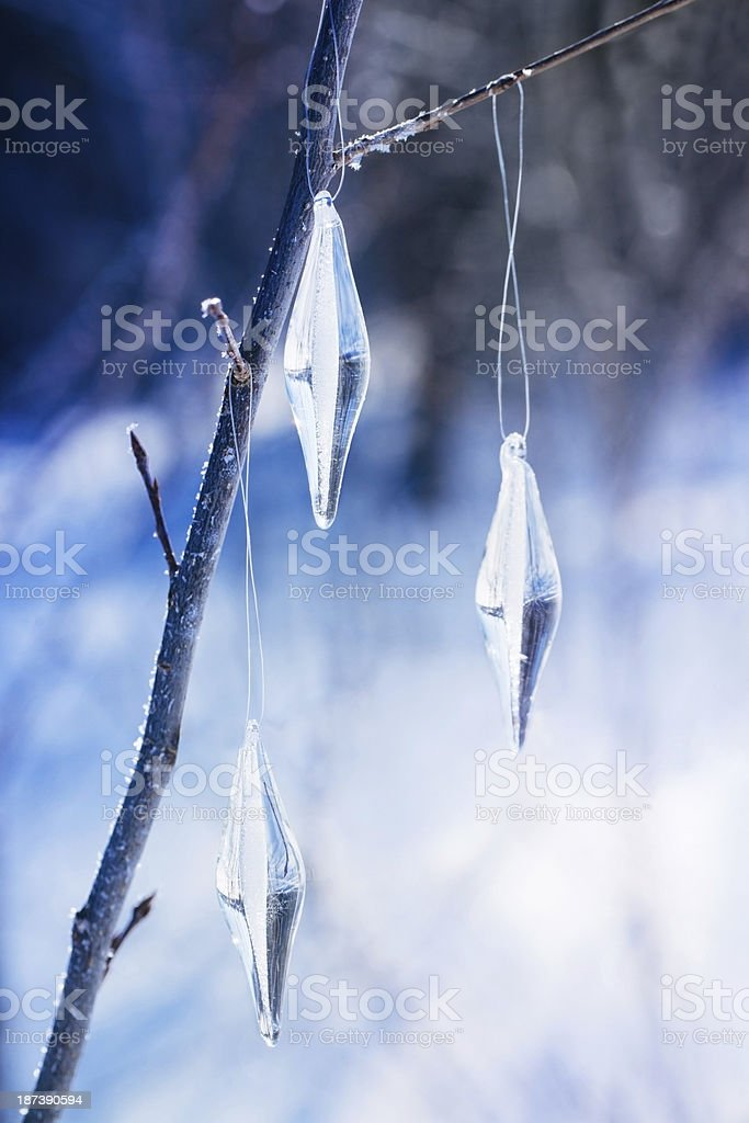Icicle ornaments on a bench outside stock photo