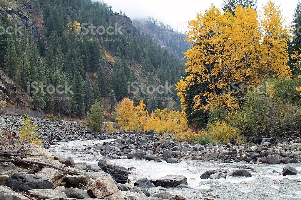 Icicle River, Leavenworth, Washington stock photo