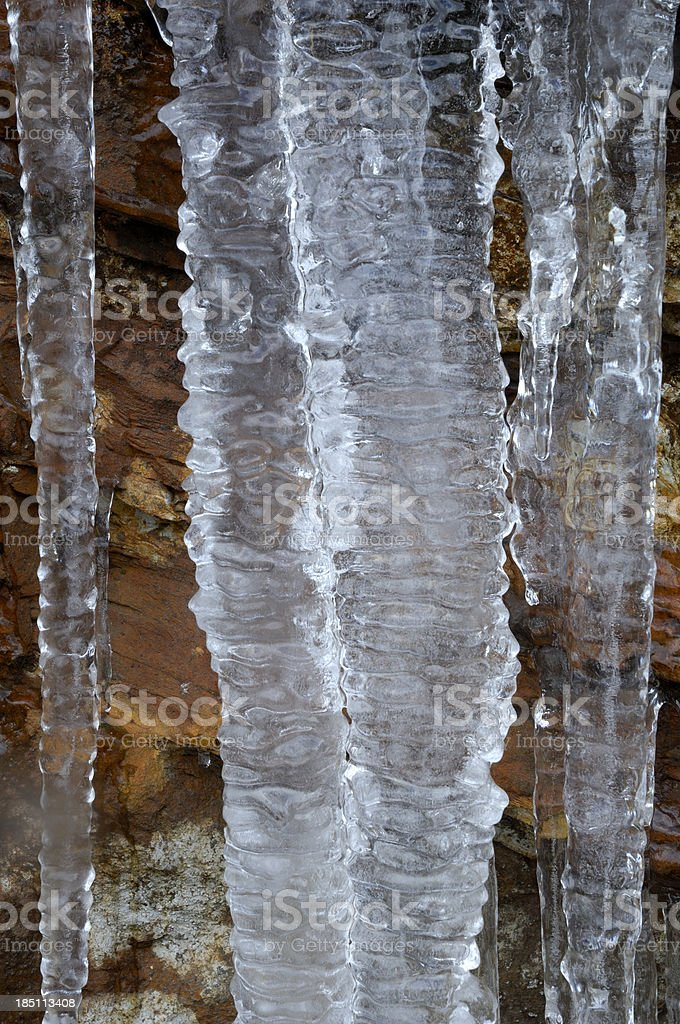 Icicles at Newfound Gap in Great Smoky Mountains National Park stock photo