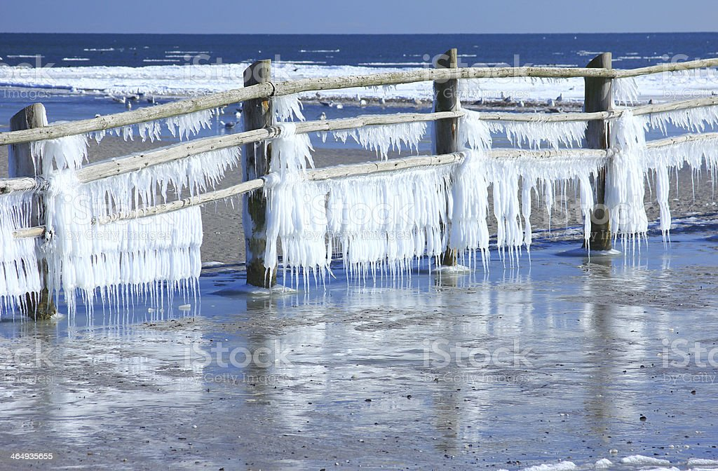 Icicles at the Baltic Sea, Germany stock photo