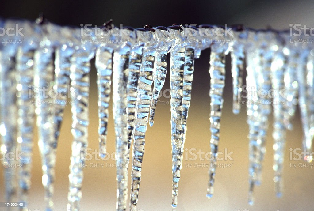 Icicles frozen to a wire fence stock photo
