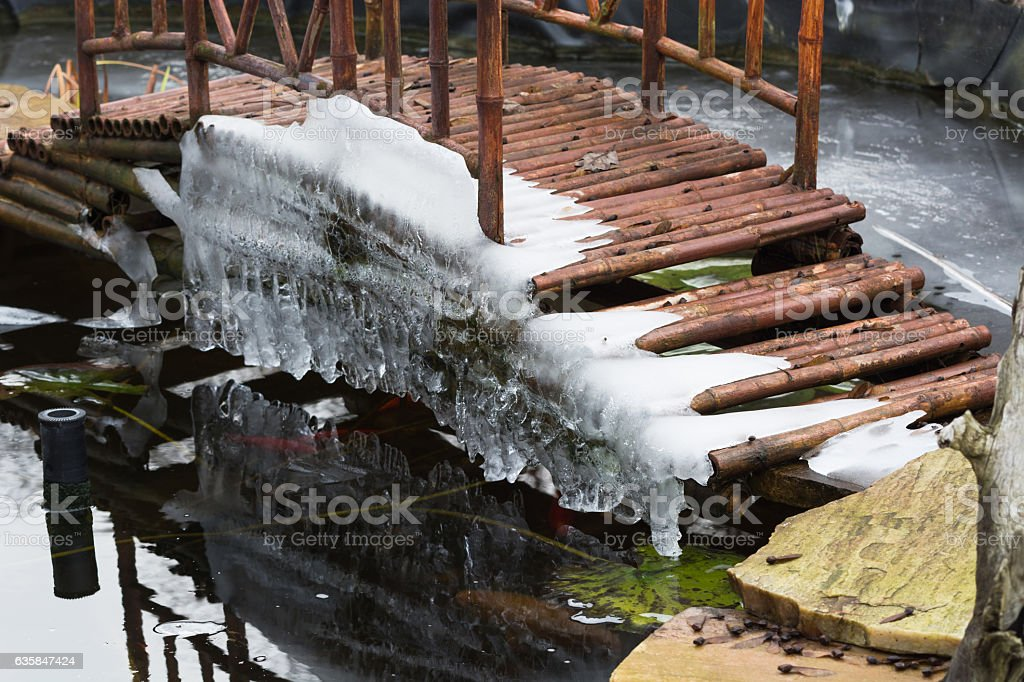Icicles hanging from a bridge stock photo