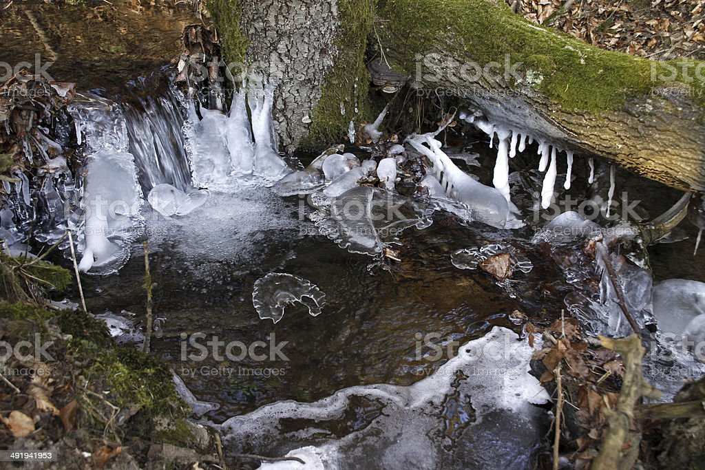 Icicles in a forest stream stock photo