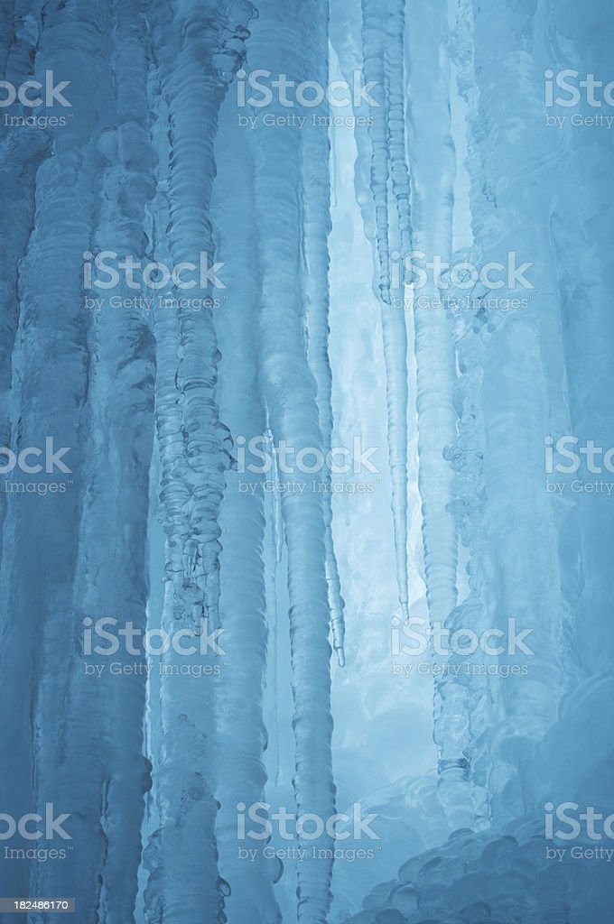 Icicles in blue ice cave royalty-free stock photo