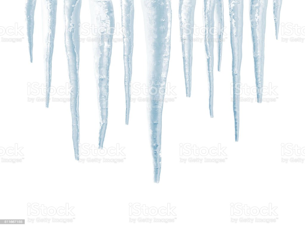 Icicles isolated on white background stock photo
