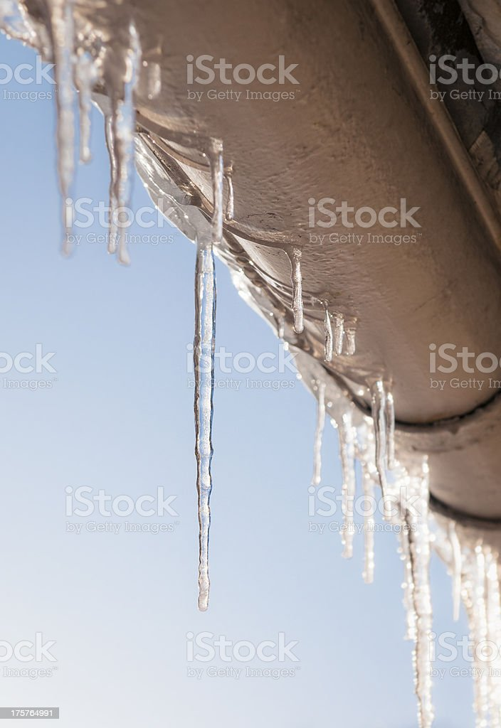 Icicles On A House Gutter royalty-free stock photo