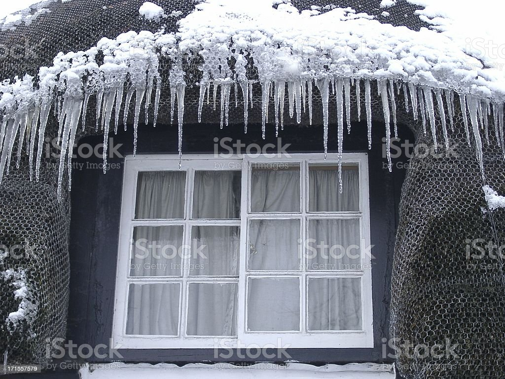 icicles on a thatched roof royalty-free stock photo