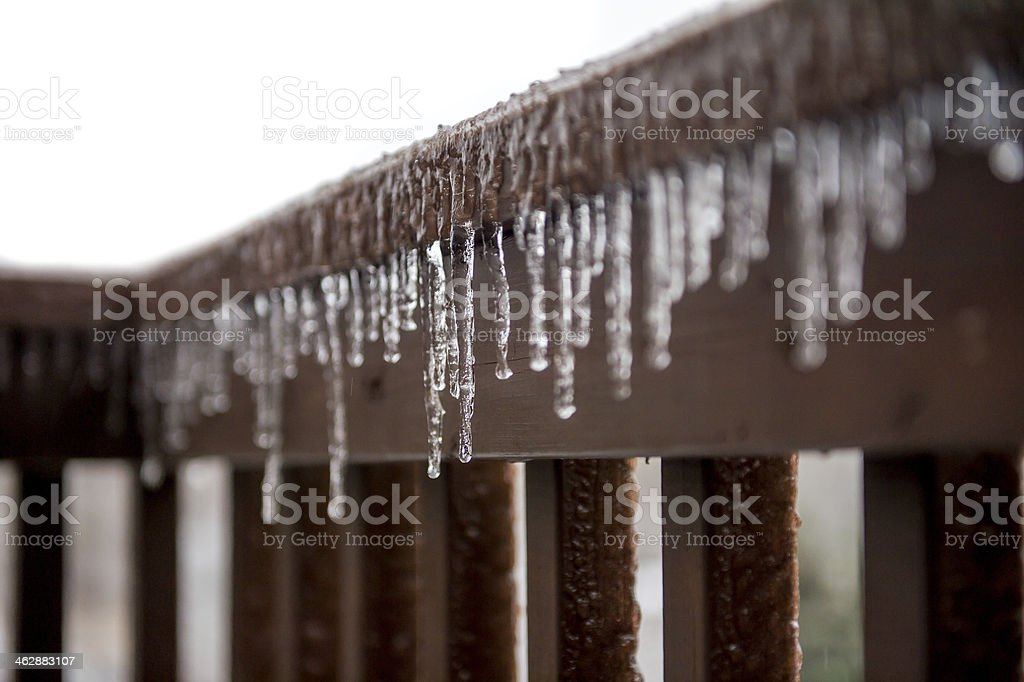 Icicles on Banister stock photo
