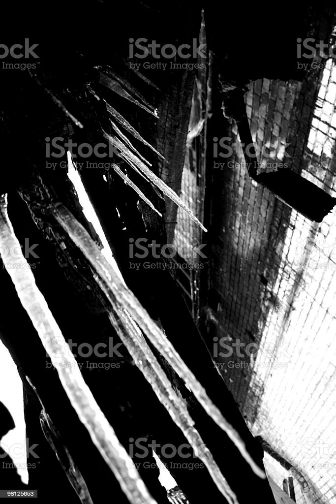 Icicles on industrial background royalty-free stock photo