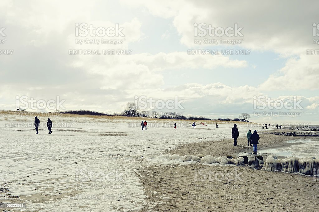 Icicles on the groynes at beach of Darss (Germany) stock photo