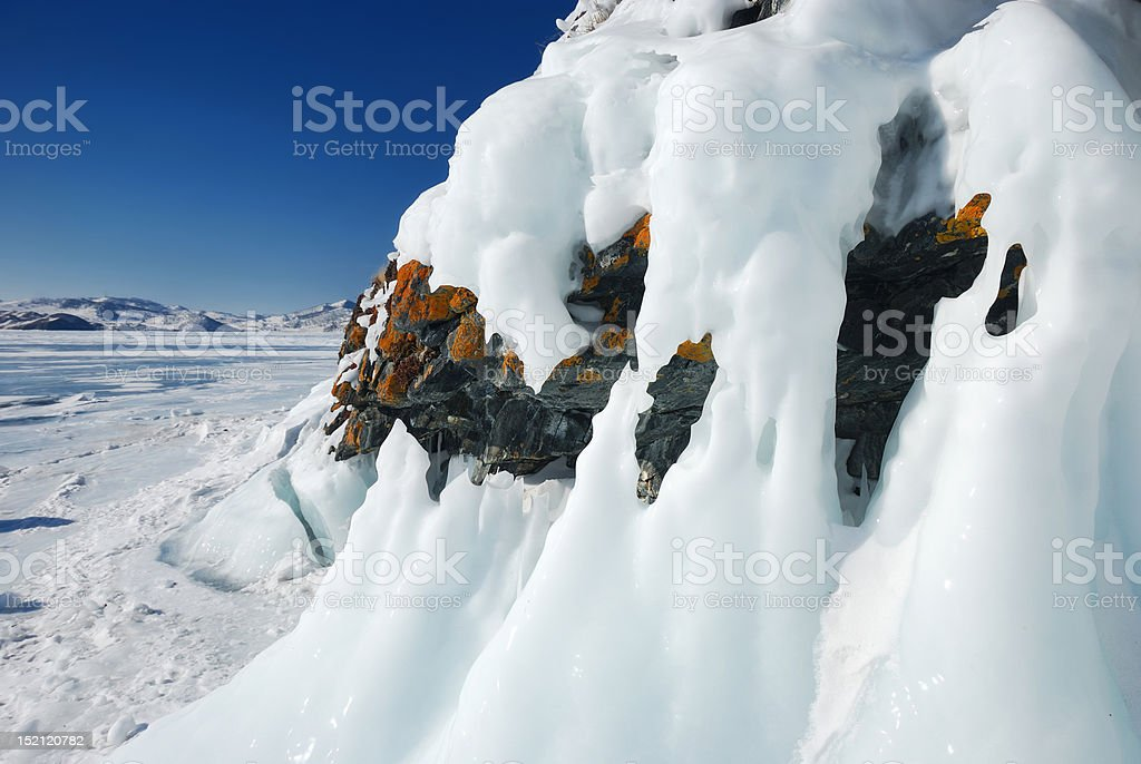 Icicles on the rocks royalty-free stock photo