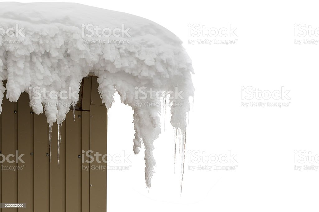 Icicles on the roof in winter. stock photo