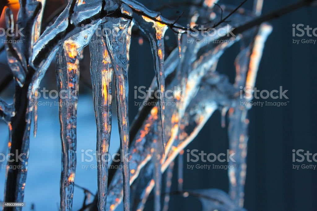 Icicles Reflecting the Sunset royalty-free stock photo