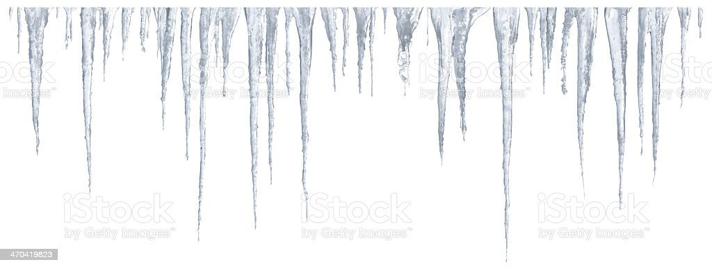 Icicles set on white background stock photo