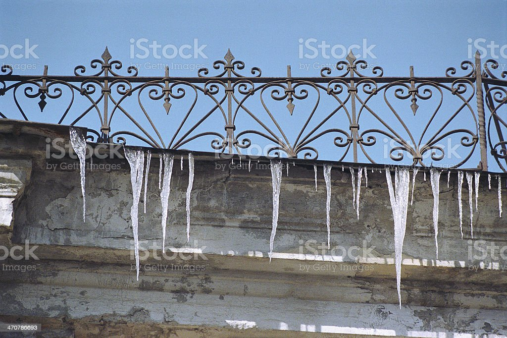 Icicles under the eaves. royalty-free stock photo