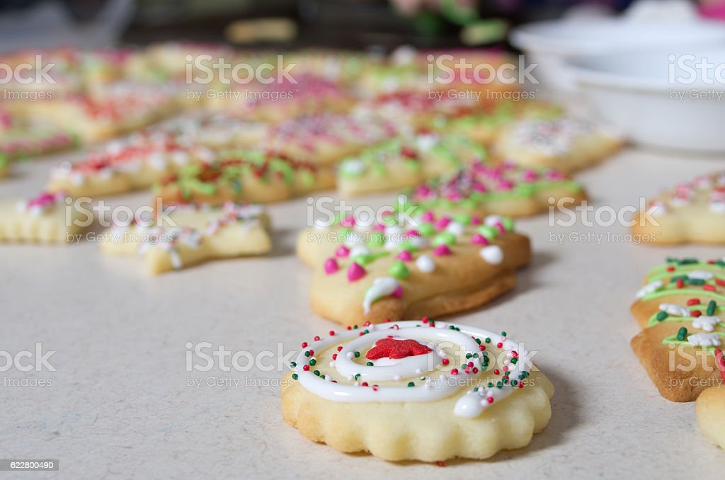 Icing on Chirstmas Cookies stock photo