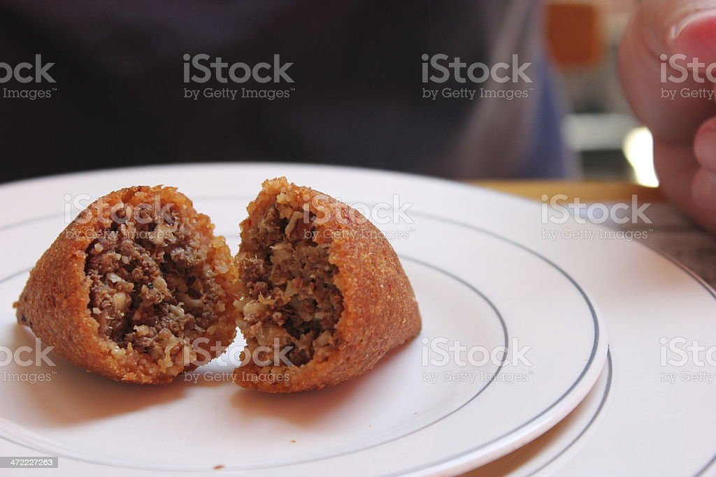 Icli Kofte / Kibbeh on White Platter stock photo