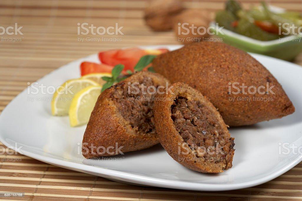 Icli Kofte,Stuffed Meatballs,Turkish Fast Food stock photo