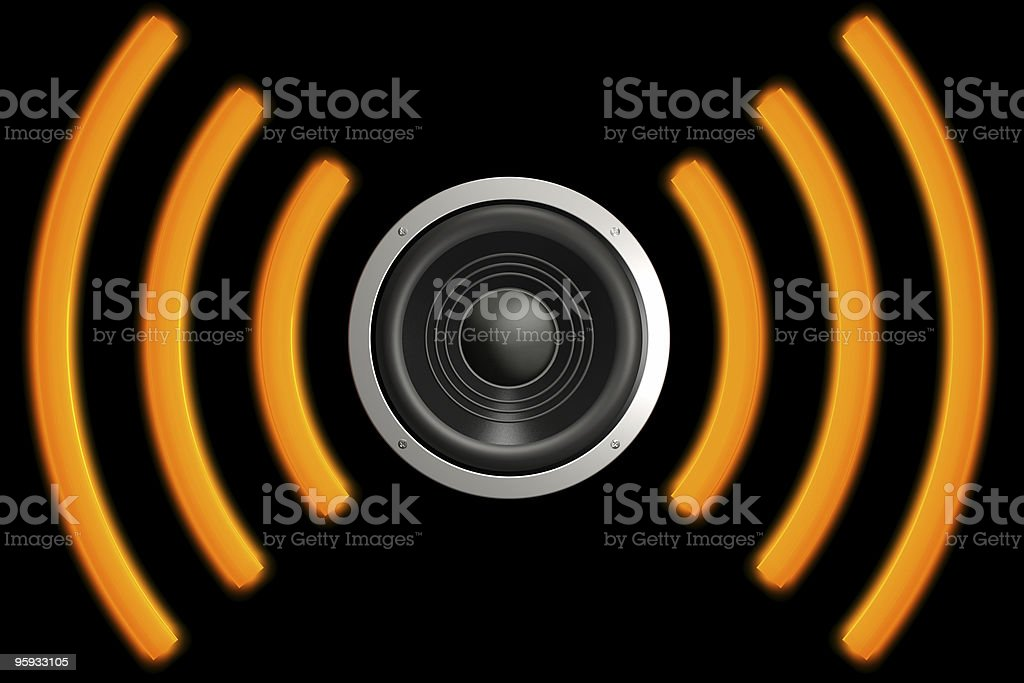 Icon design for a speaker in black and orange stock photo