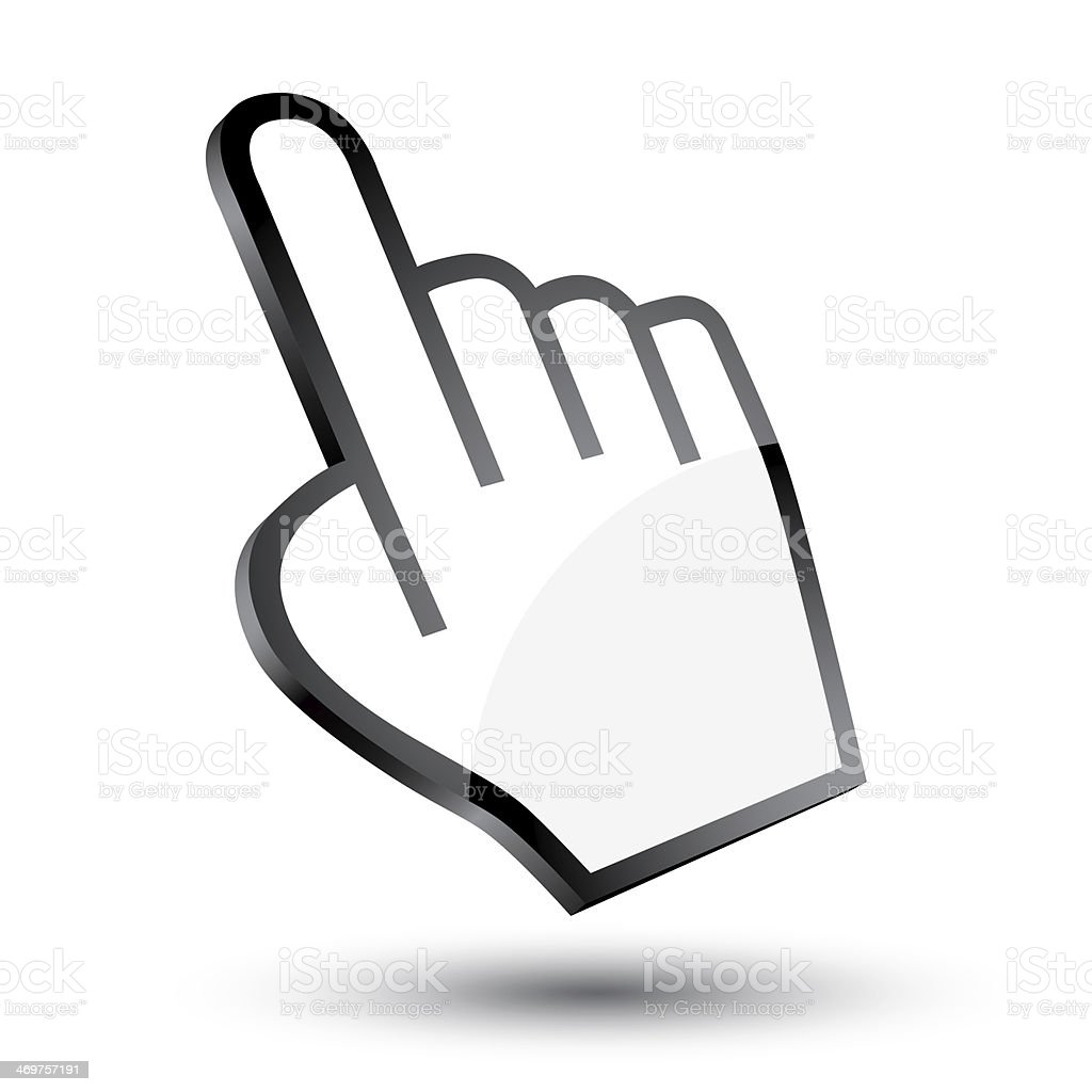 3D icon of a pointing hand mouse cursor stock photo