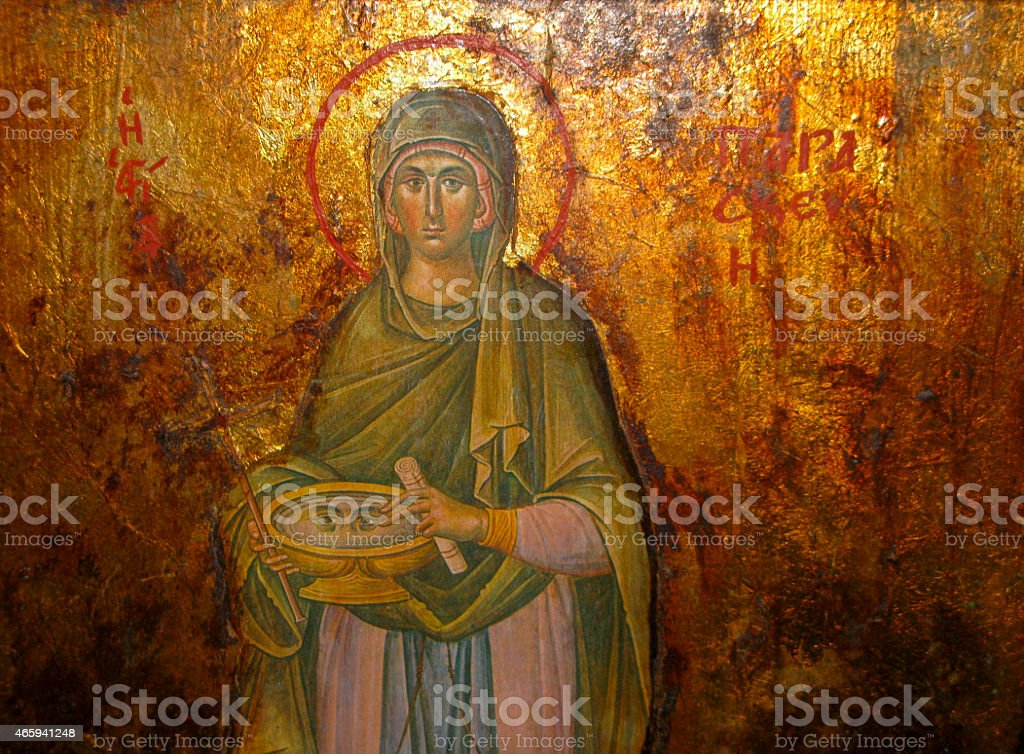 Icon of Agia Paraskevi, Greece stock photo