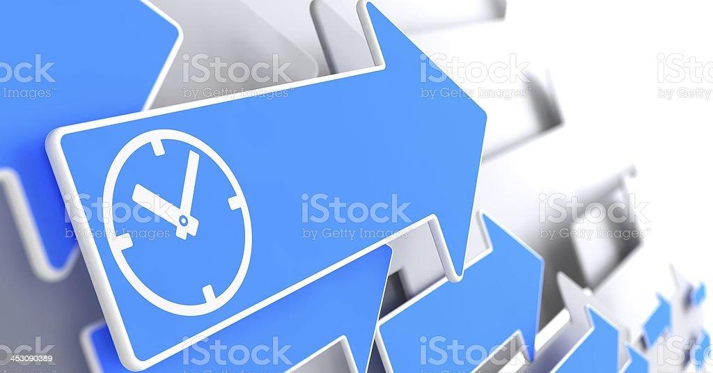 Icon of Clock Face on Blue Arrow. stock photo