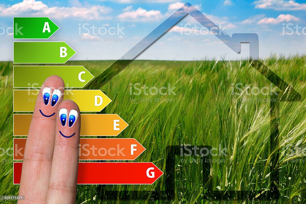 icon of house energy efficiency rating stock photo