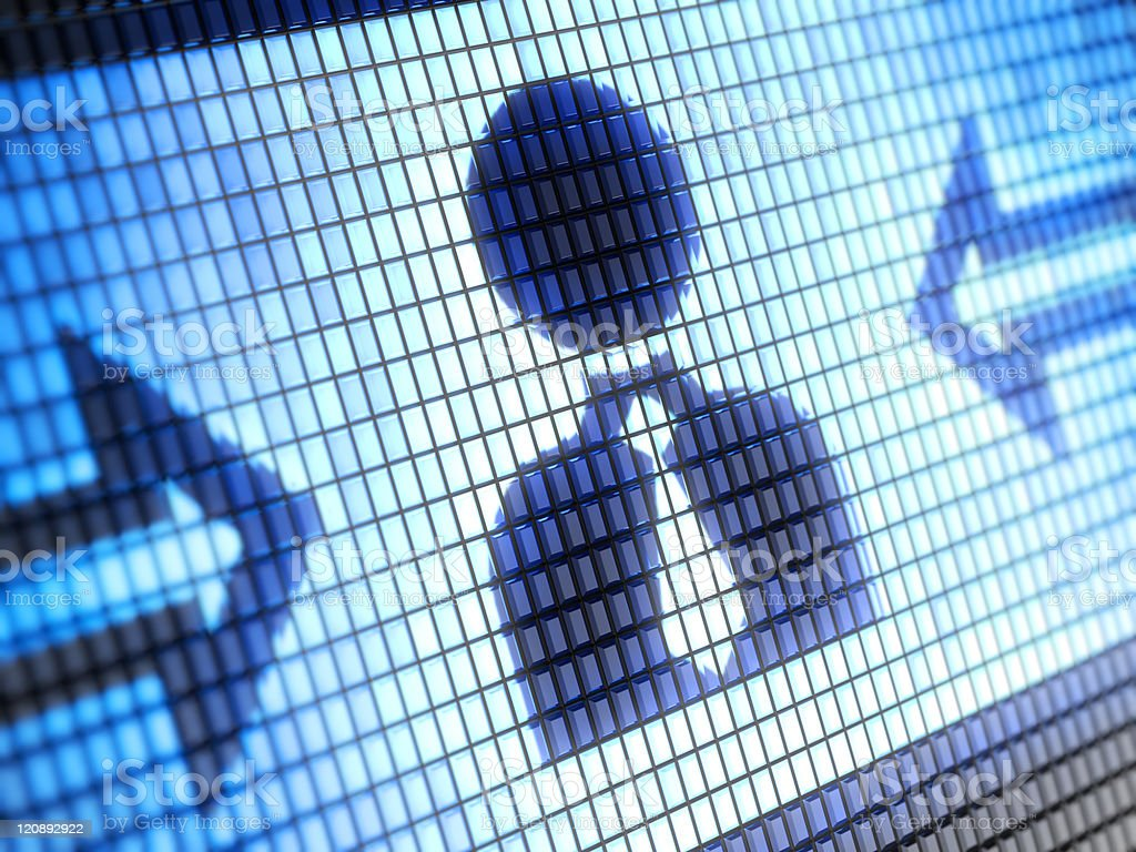 Icon of man with tie on blue pixelated screen royalty-free stock photo