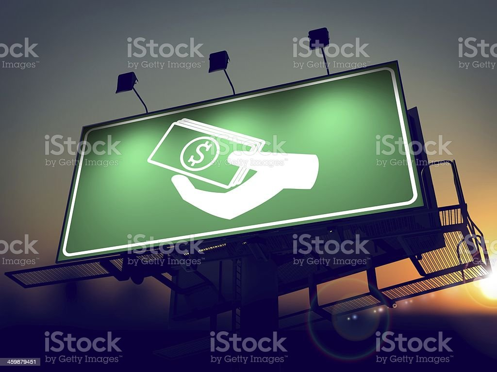 Icon of Money in the Hand on Green Billboard. stock photo