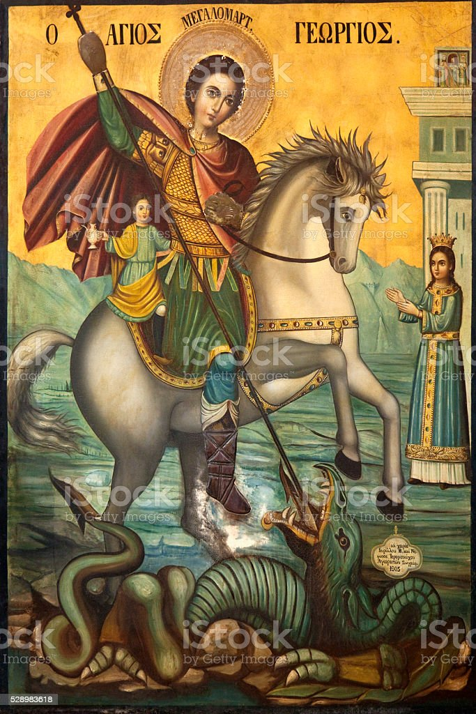 Icon of St George and the Dragon stock photo