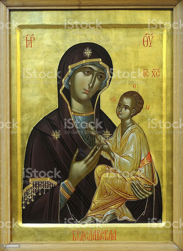 Icon of Virgin Mary and Holy child royalty-free stock photo