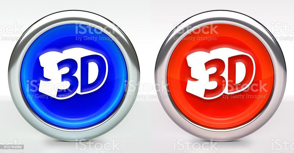 3D Icon on Button with Metallic Rim stock photo