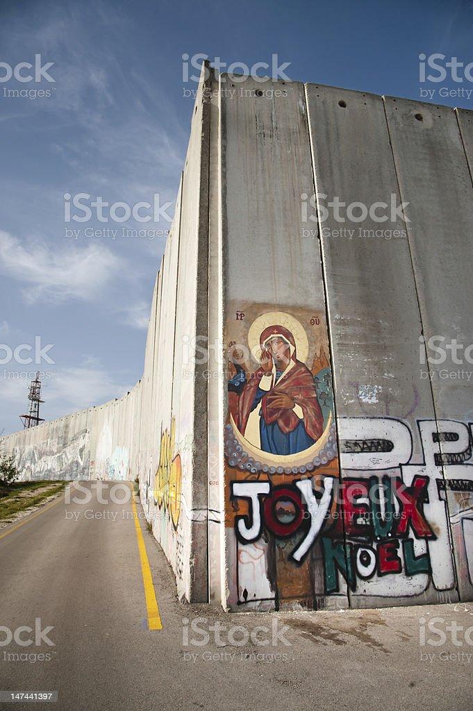 Icon on Israeli separation barrier stock photo