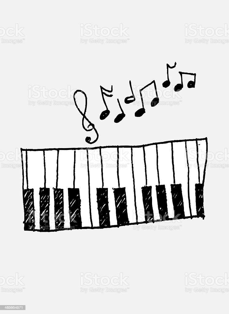 icon piano and musical notes royalty-free stock photo