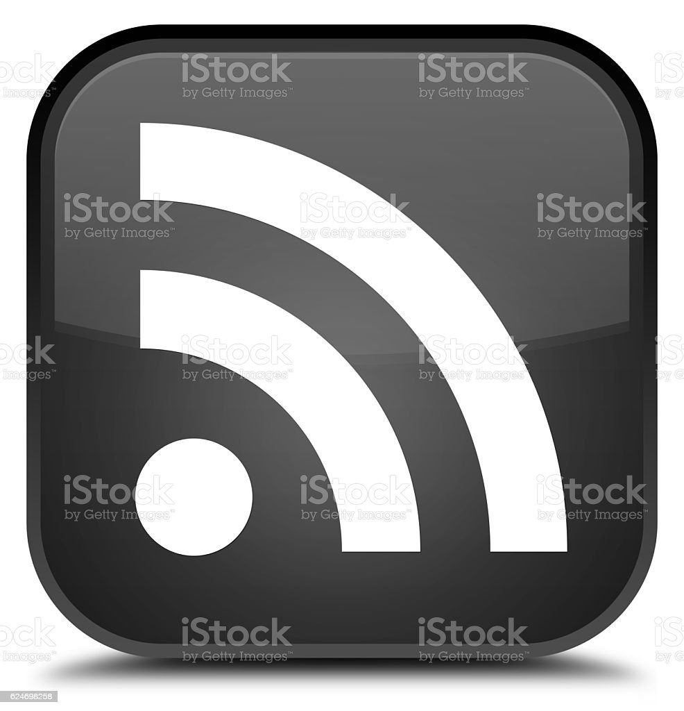 RSS icon special black square button stock photo