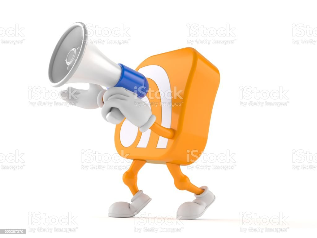 RSS icon toon with megaphone stock photo
