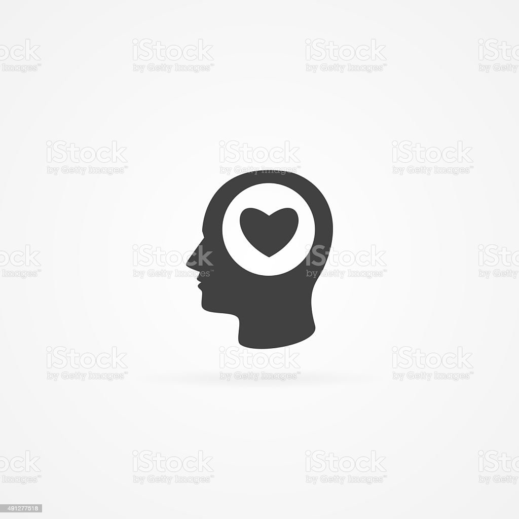 Icone of man with heart shape  in head. stock photo