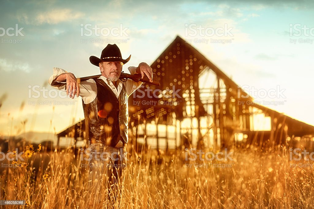 Iconic American Cowboy In Western Scenic stock photo