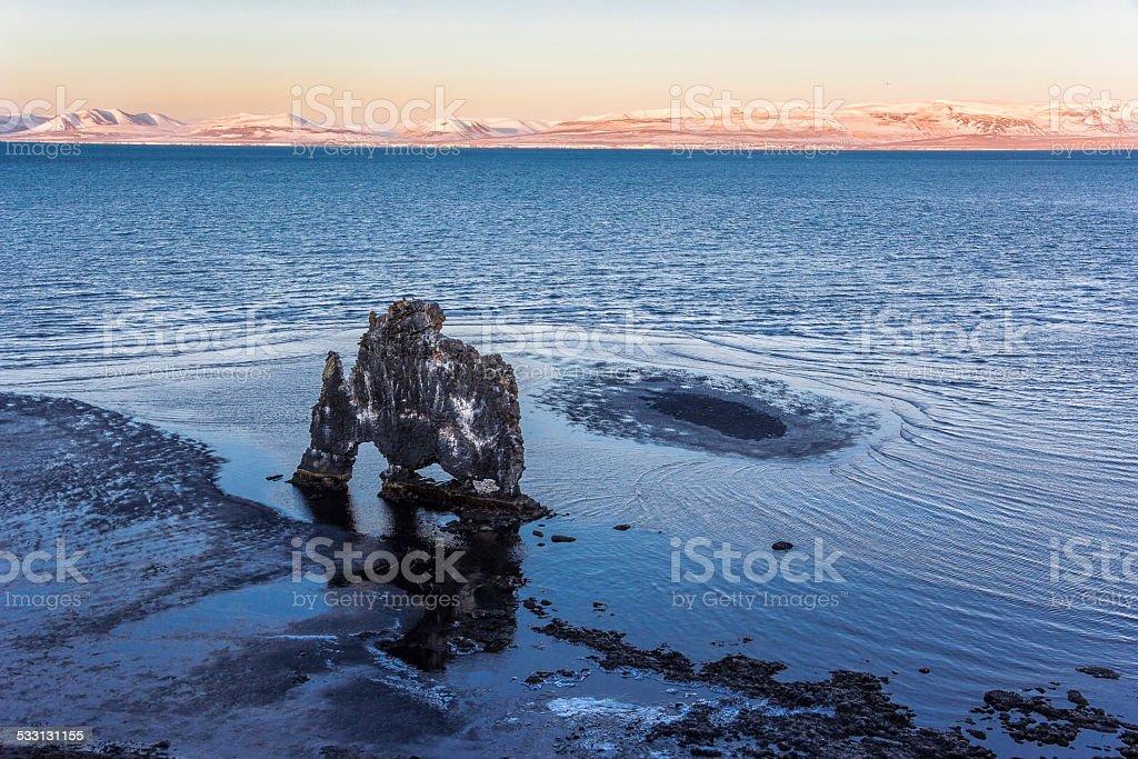 Iconic basalt rock formation Hvítserkur, Iceland after sunset during winter stock photo