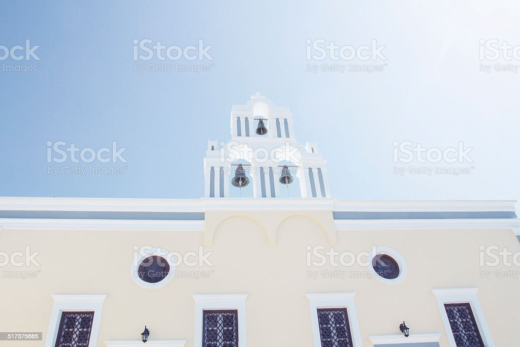 Iconic church with blue cupola stock photo