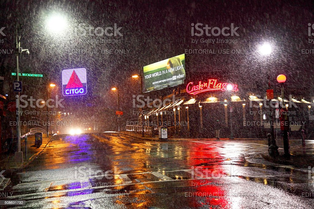 Iconic Citgo Sign along Brookline Ave in Boston stock photo
