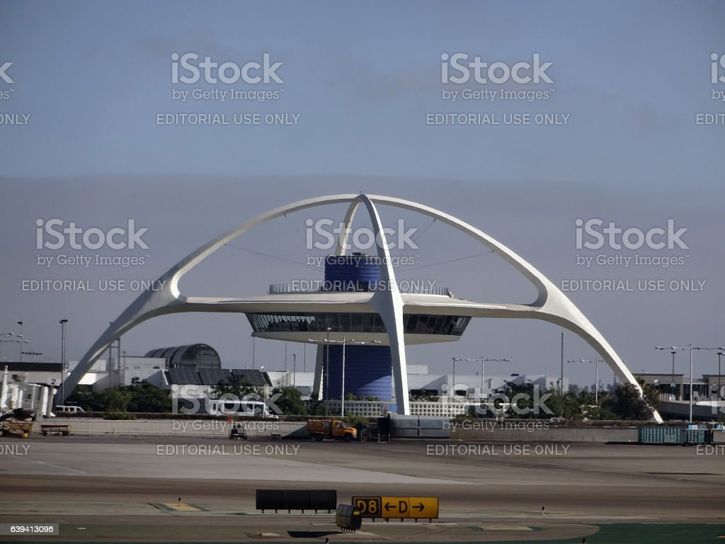 Iconic Encounter Restaurant and runway at LAX stock photo