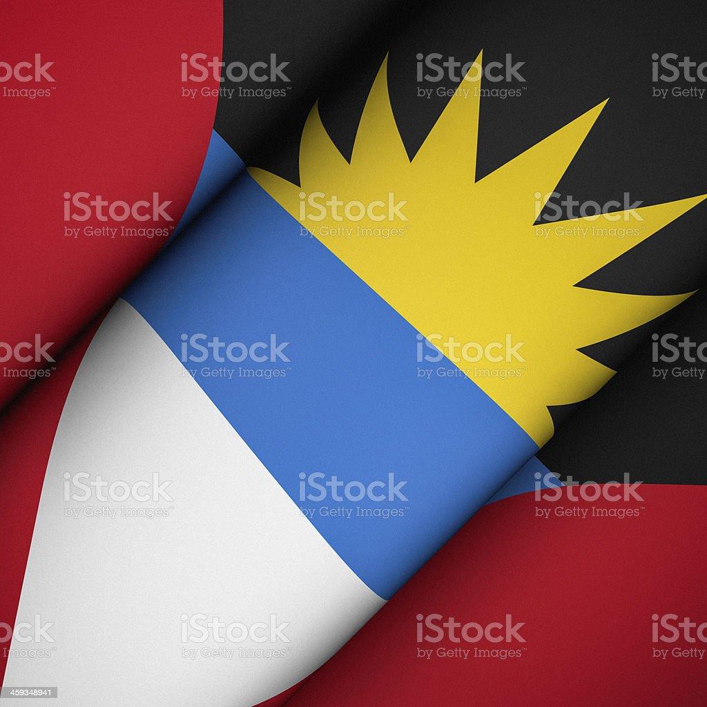 Iconic Flag of Antigua and Barbuda stock photo